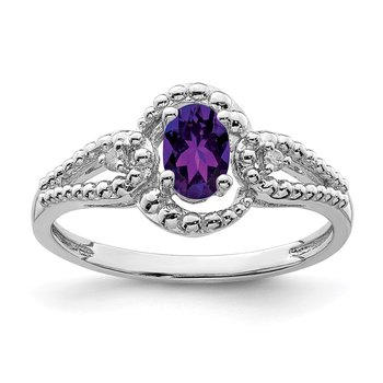 Sterling Silver Rhodium-plated Amethyst & Diam. Ring