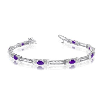10k White Gold Natural Amethyst And Diamond Tennis Bracelet