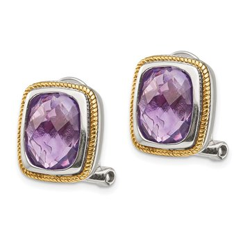 Sterling Silver w/14k Amethyst Clip Stud Earrings