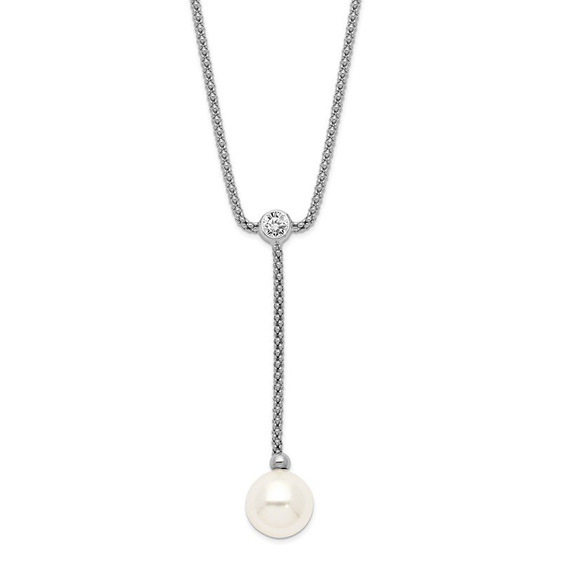 Quality Gold Sterling S Majestik Rh-plate 10-11mm Imitat Shell Pearl CZ Y-drop Necklace