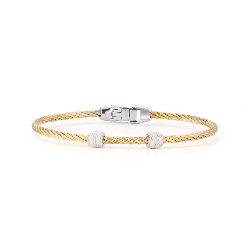 ALOR Yellow Cable Double Station Stackable Bracelet with 18kt White Gold & Diamonds