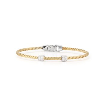 Yellow Cable Double Station Stackable Bracelet with 18kt White Gold & Diamonds