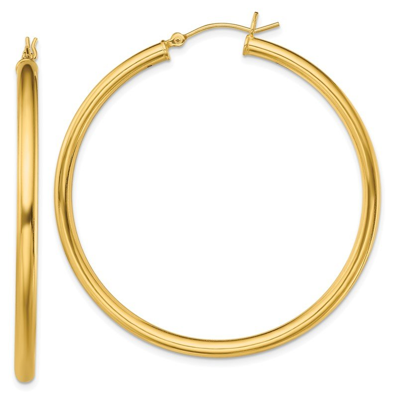 Quality Gold Sterling Silver Gold-Tone Polished 3x50mm Hoop Earrings