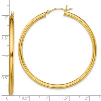Sterling Silver Gold-Tone Polished 3x50mm Hoop Earrings