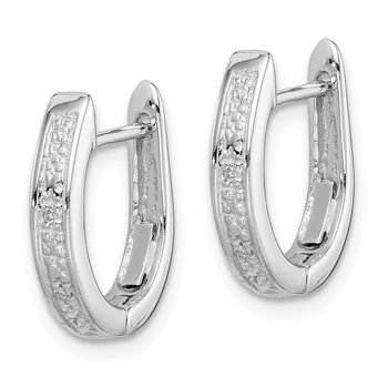 Sterling Silver Rhodium Diamond Hinged Hoop Earrings