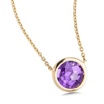 Amethyst Layering Pendant in 14K Yellow Gold