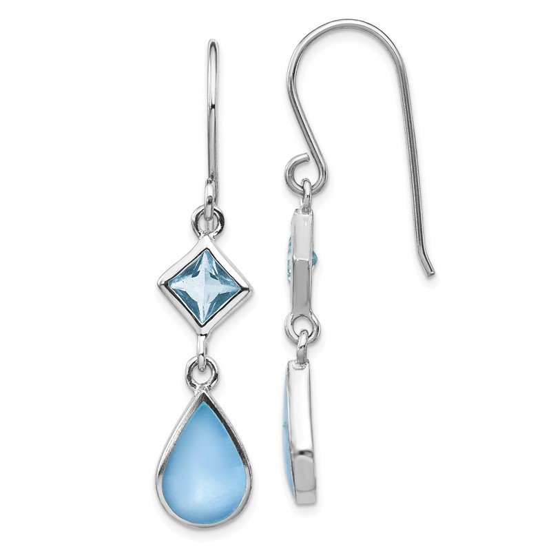 Quality Gold Sterling Silver Rhodium-plated Blue CZ/Blue MOP Dangle Earrings