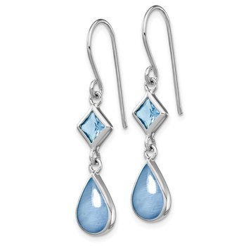 Sterling Silver Rhodium-plated Blue CZ/Blue MOP Dangle Earrings