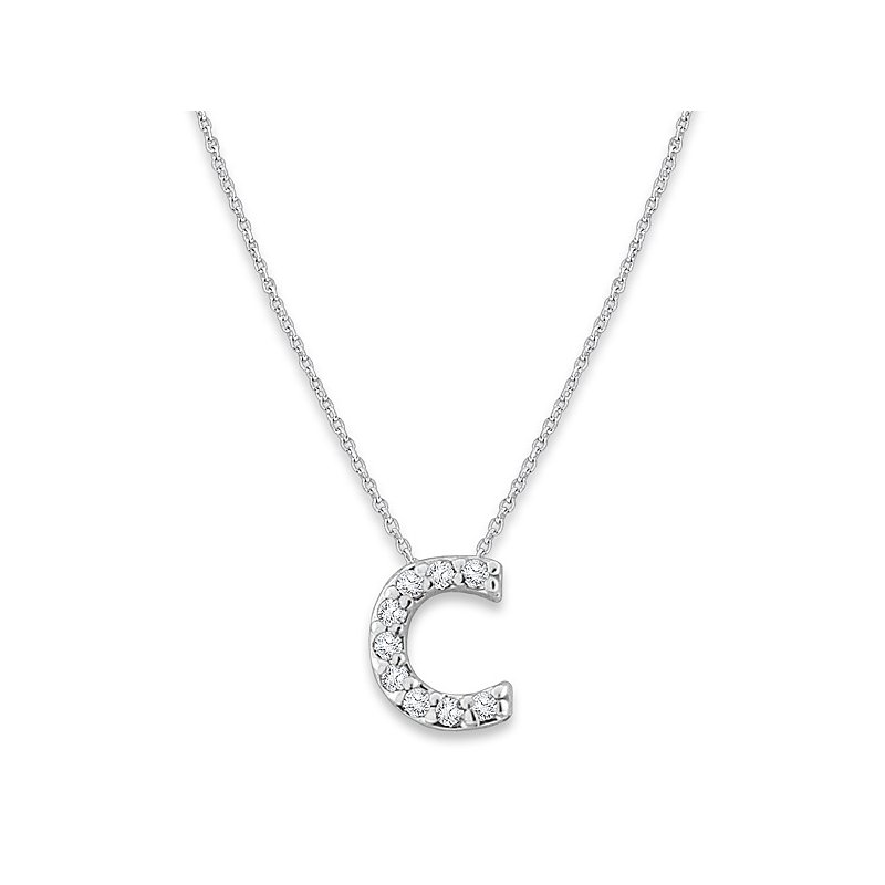 "KC Designs Diamond Baby Typewriter Initial ""C"" Necklace in 14k White Gold with 9 Diamonds weighing .05ct tw."
