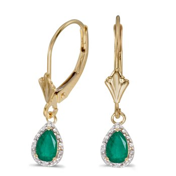 10k Yellow Gold Pear Emerald And Diamond Leverback Earrings