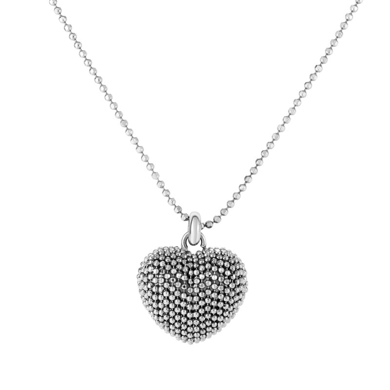 Royal Chain Silver Beaded Heart Necklace