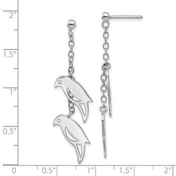 Sterling Silver Rhodium-plated Two Birds Dangle Post Earring
