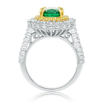 Tri-Colored Emerald & Diamond Ring