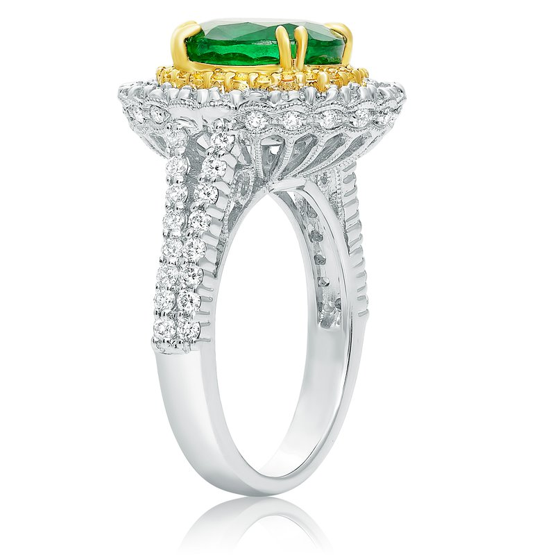 Roman & Jules Tri-Colored Emerald & Diamond Ring