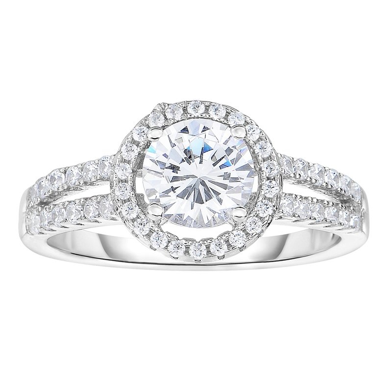 Royal Chain Silver Round CZ with Halo Ring