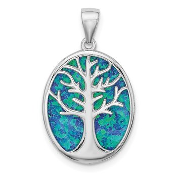 Sterling Silver Rhodium-plated Created Opal Tree of Life Oval Pendant