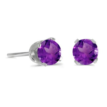 4 mm Round Amethyst Screw-back Stud Earrings in 14k White Gold