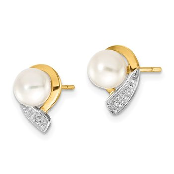 14k 5-6mm White Button FWC Pearl .01ct Diamond Post Earrings