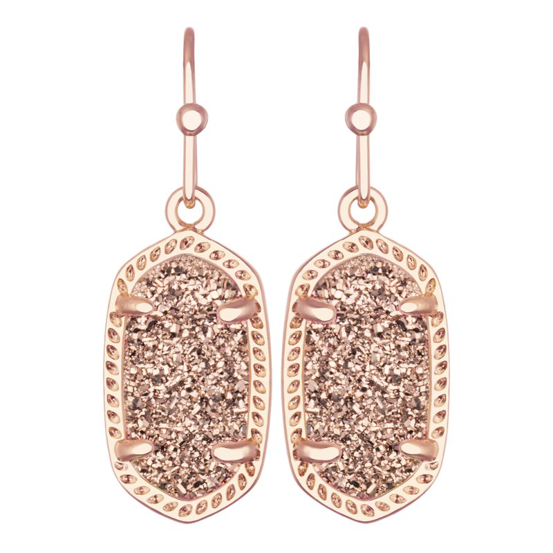 Kendra Scott Lee Rose Gold Drop Earrings In Rose Gold Drusy