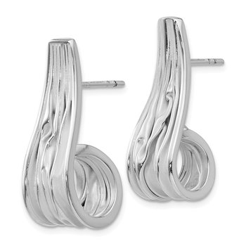 Leslie's Sterling Silver J Hoop Post Earrings