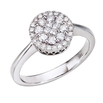 14K White Gold Diamond Clustaire Ring