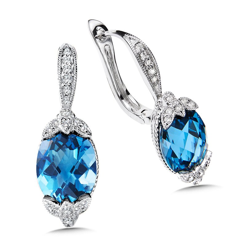London Blue Topaz & Diamond Earrings in 14K White Gold