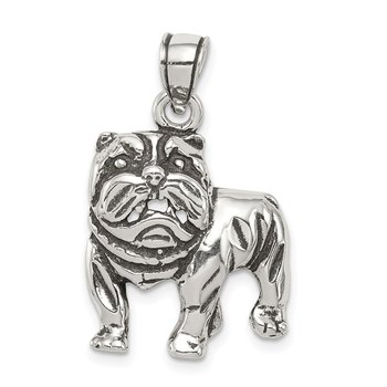 Sterling Silver Antiqued Bulldog Pendant