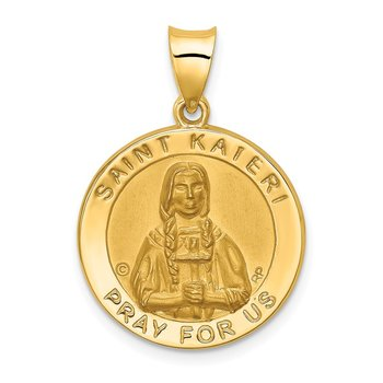14K Polished / Satin St. Kateri Hollow Medal Pendant