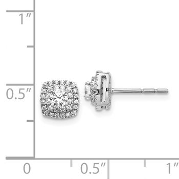 14k White Gold Diamond Halo Post Earrings