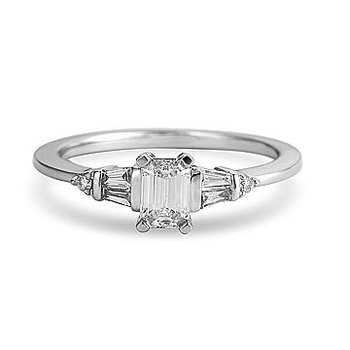 14K WG & PD Diamond Emerald Cut Engagement Ring for Mo