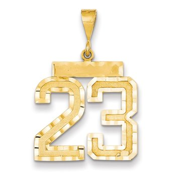 14k Large Diamond-cut Number 23 Charm