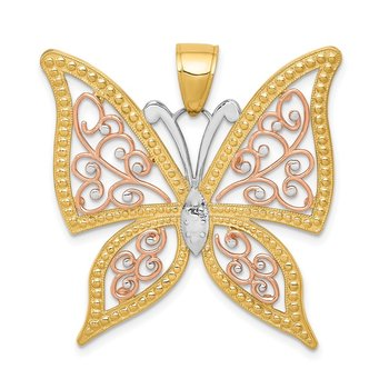 14k Two-tone w/White Rhodium Diamond-cut Butterfly Pendant