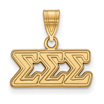 Gold-Plated Sterling Silver Sigma Sigma Sigma Greek Life Pendant