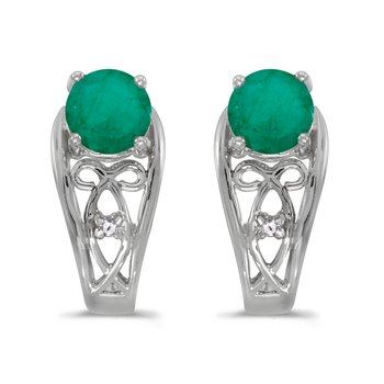 10k White Gold Round Emerald And Diamond Earrings