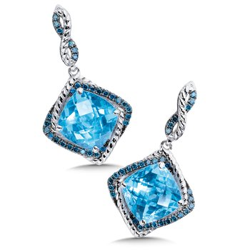 Sterling silver, blue topaz and blue diamond earrings