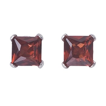 14k White Gold Square Garnet Stud Earrings