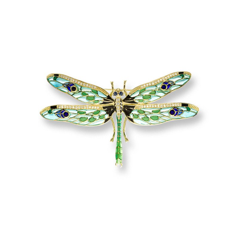 Nicole Barr Designs Green Dragonfly Brooch.18K -Diamonds and Blue Sapphires - Plique-a-Jour