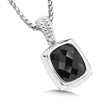 Sterling Silver and Onyx Pendant