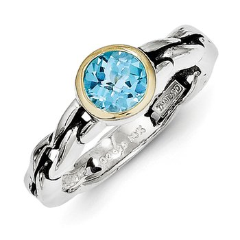 Sterling Silver w/14k Sky Blue Topaz Ring