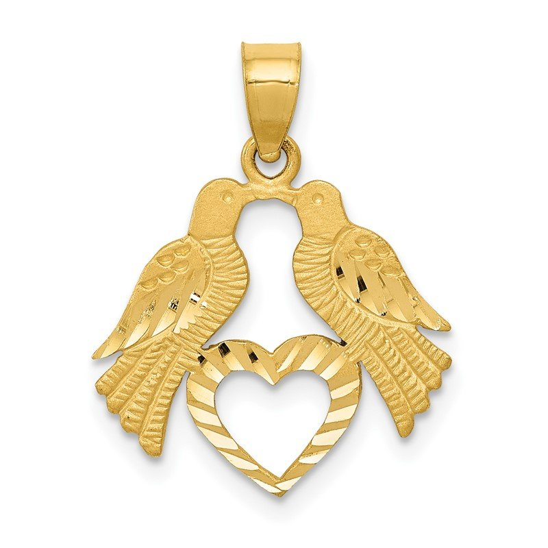 Quality Gold 14k Polished Diamond-cut Love Birds with Heart Pendant
