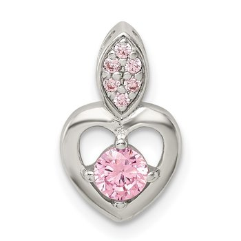 Sterling Silver Pink CZ Heart Chain Slide Pendant