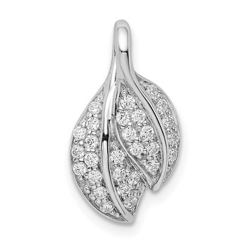 Sterling Silver Rhodium-plated CZ Leaf Slide