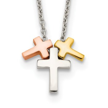 Sterling Silver Rose and Gold-tone 3-Cross w/ 2in ext. Necklace
