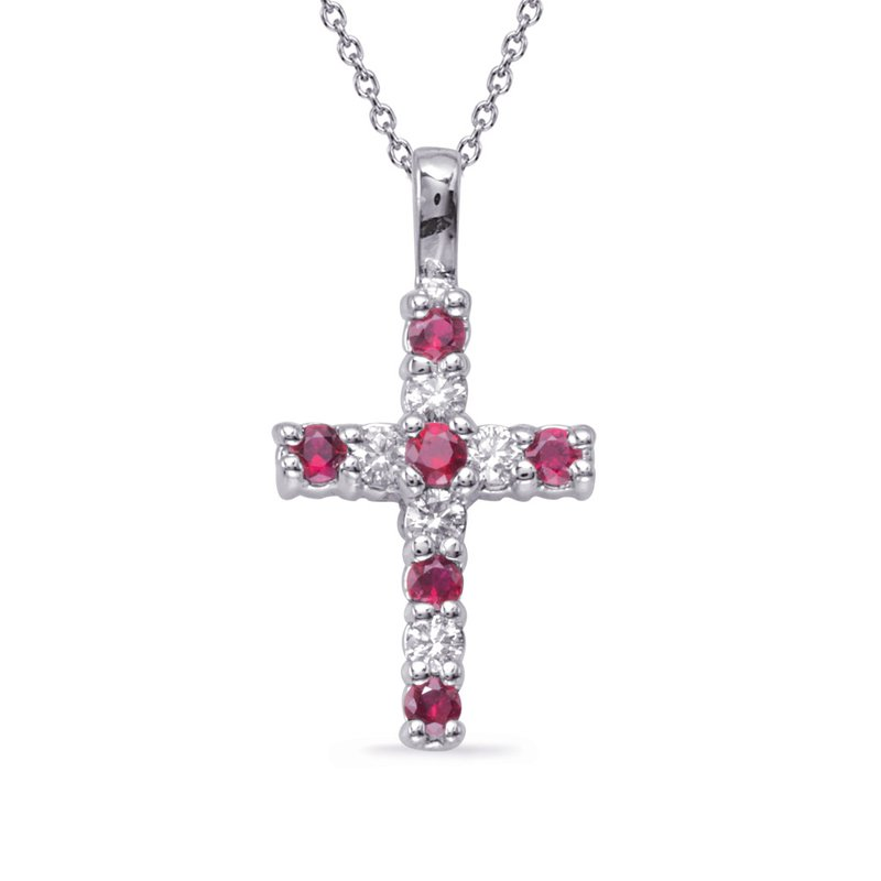 S. Kashi  & Sons White Gold Ruby & Diamond Cross
