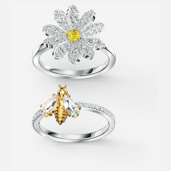 Eternal Flower Ring Set, Yellow, Mixed metal finish