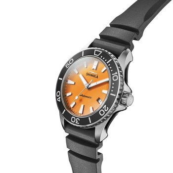 The Lake Huron Monster 43mm Orange Dial Rubber Strap Watch