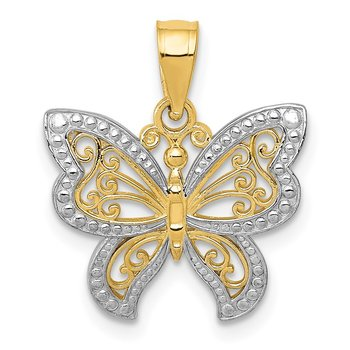 14K and Rhodium Buttterfly Charm