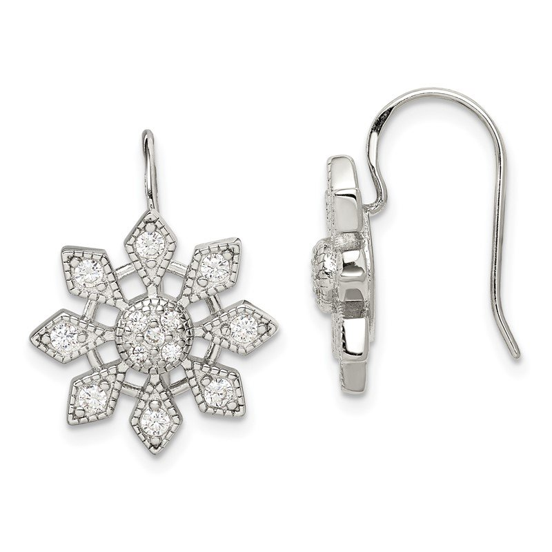 Quality Gold Sterling Silver CZ Snowflake Earrings