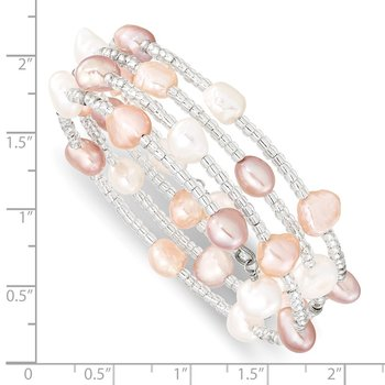 6-7mm Multicolored Baroque FWC Pearl & Glass Beaded Wrap Bracelet