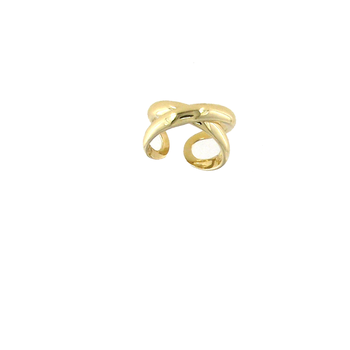 18Kt Gold Wide Crossover X Ring